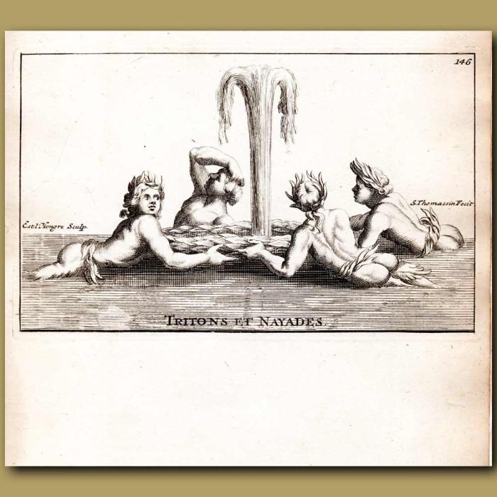Antique print. Tritons and Naiad fountain