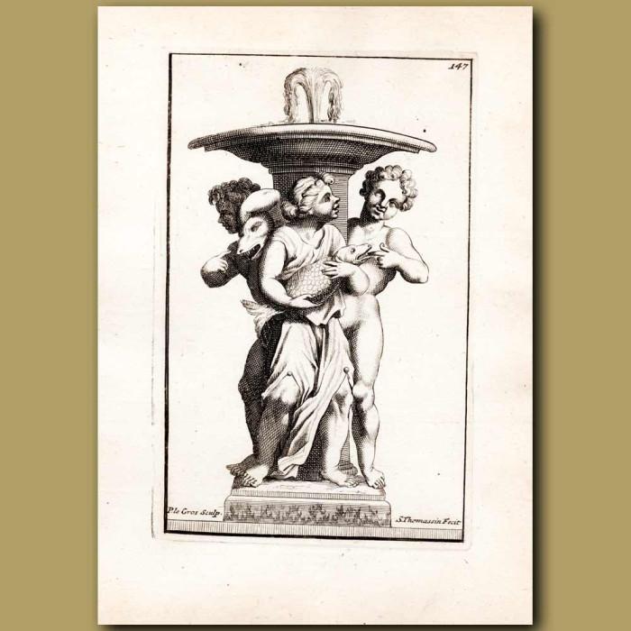 Antique print. Cherubs holding a fish beneath a fountain