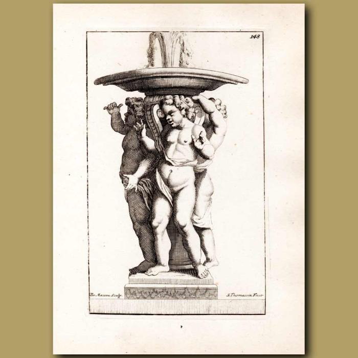 Antique print. Three cherubs beneath a fountain