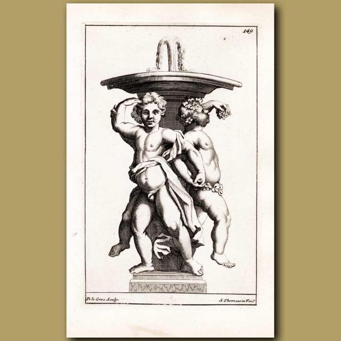 Antique print. Cherubs eating grapes beneath a fountain