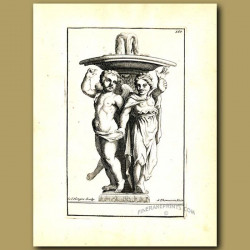 Dancing cherubs beneath a fountain