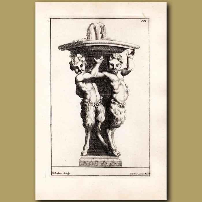 Antique print. Dancing cherubs beneath a fountain