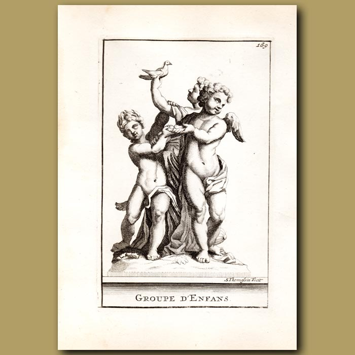 Antique print. Group of Children with a Dove