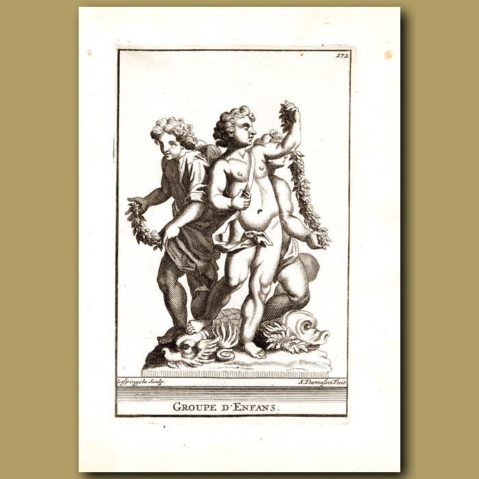 Antique print. Group of Children