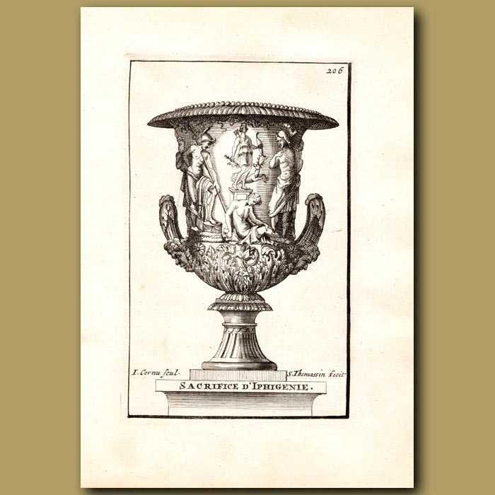 Antique print. Marble Vase with the Sacrifice of Iphigenie