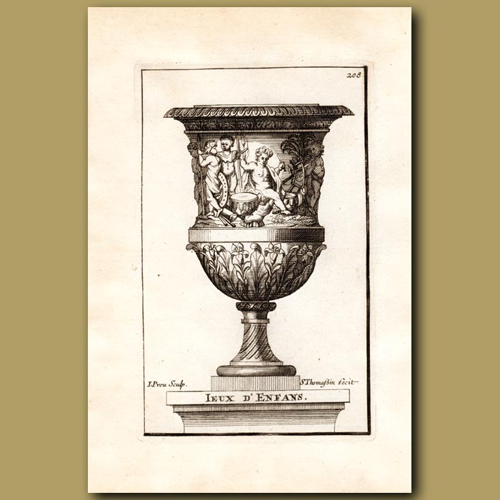 Antique print. Marble vase with Children and Drums