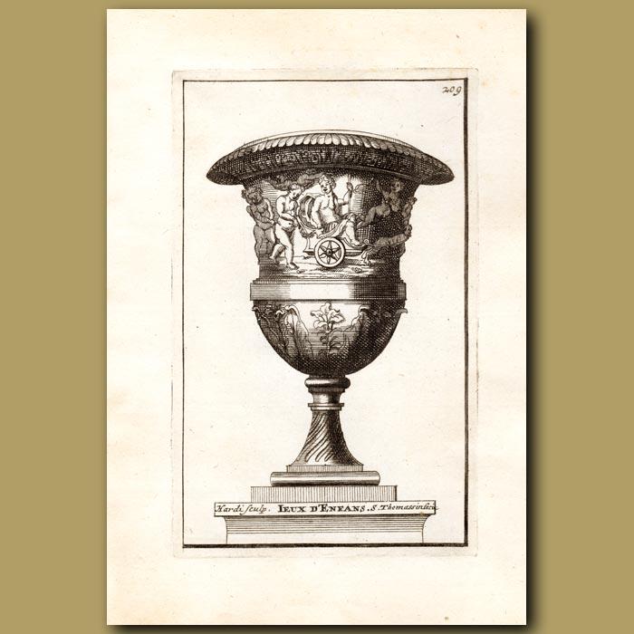 Antique print. Marble vase with Children