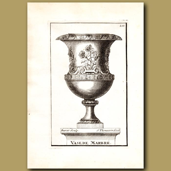 Antique print. Marble Vase with Sunflowers
