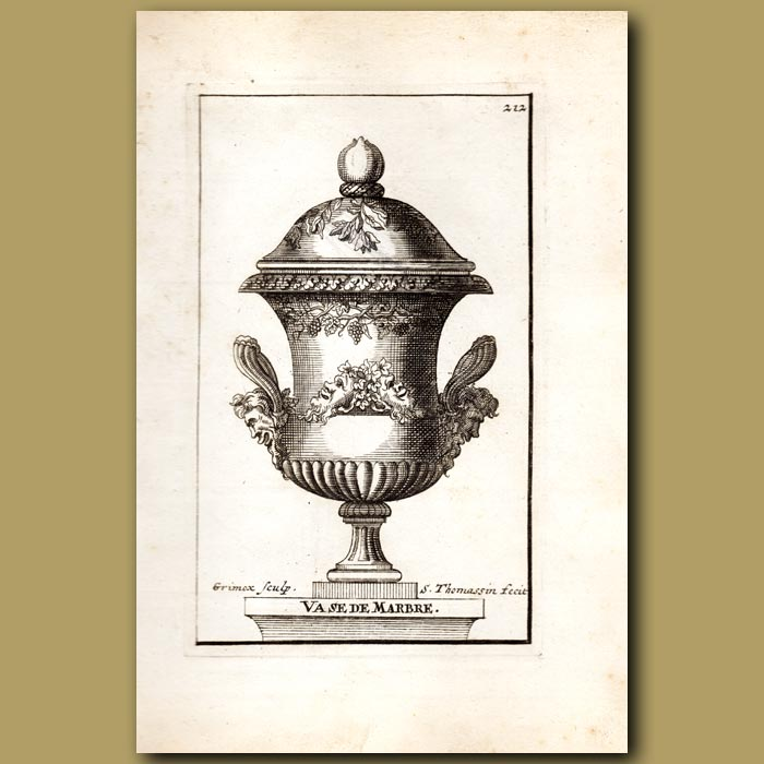 Antique print. Marble Vase with Satyrs