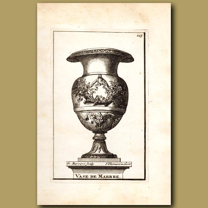 Antique print. Marble Vase with the Horns of Plenty