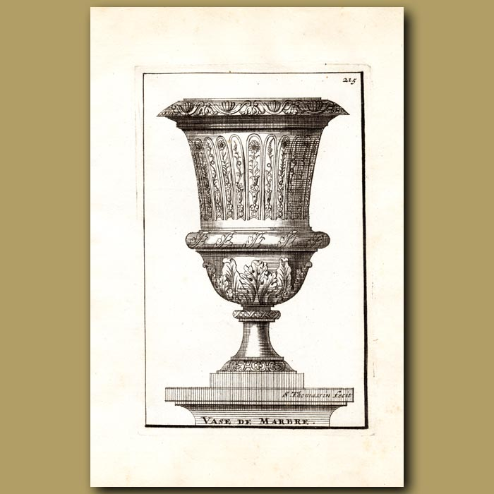 Antique print. Marble Vase with Flowers