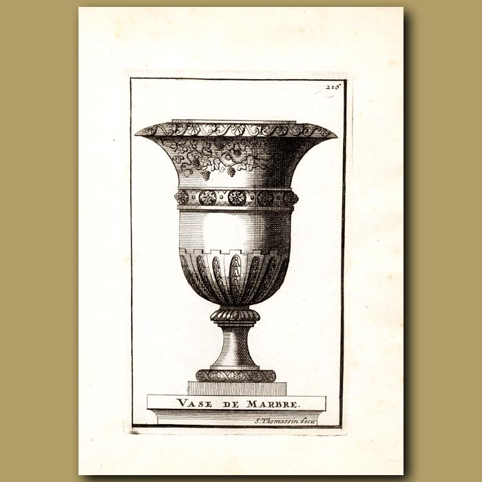 Antique print. Marble Vase with Grapes