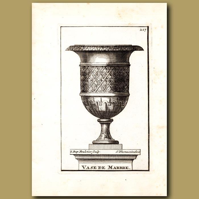 Antique print. Marble vase with the Fleur de Lis