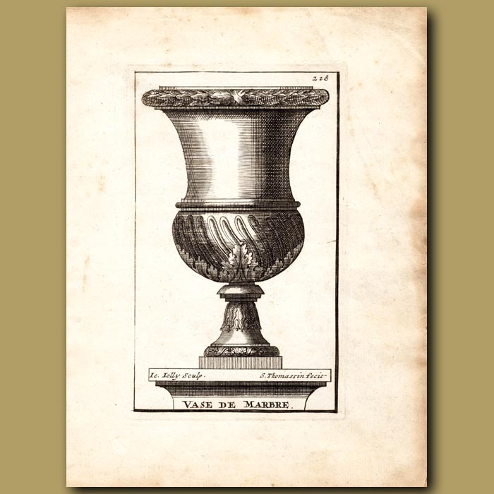 Antique print. Marble Vase with twisted flutes
