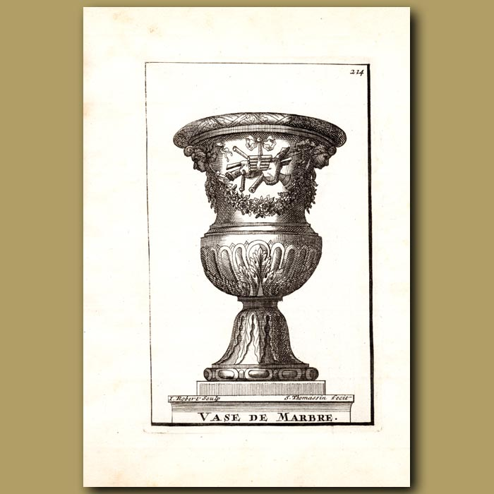 Antique print. Marble Vase with Panpipes