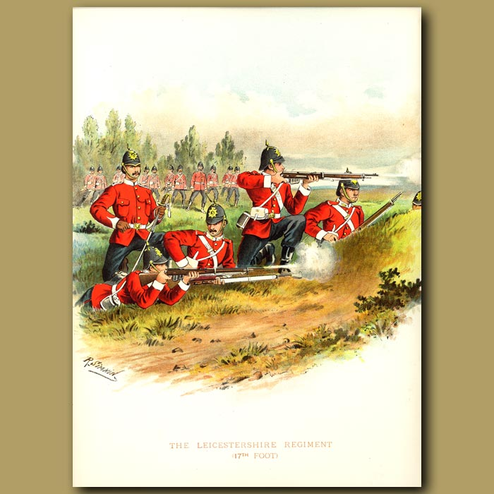 Antique print. The Leicestershire Regiment (17th Foot)