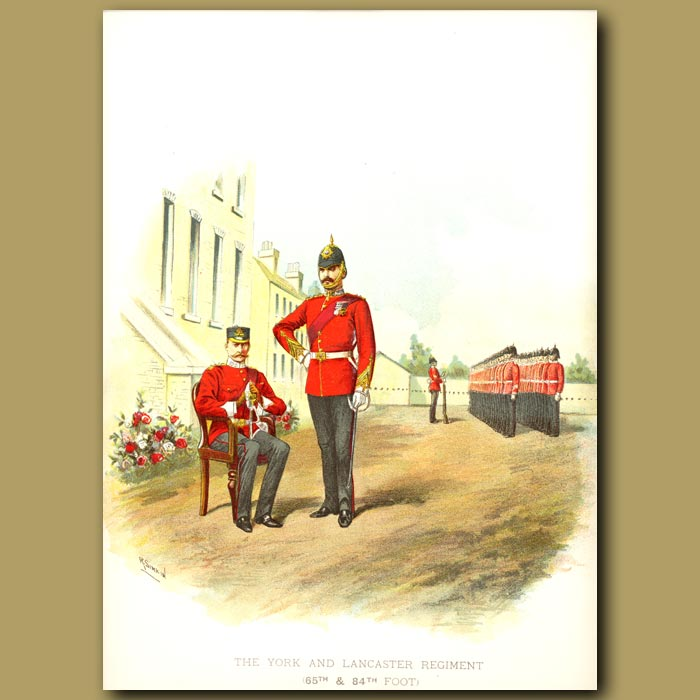 Antique print. The York And Lancaster Regiment (65th And 84th Foot)