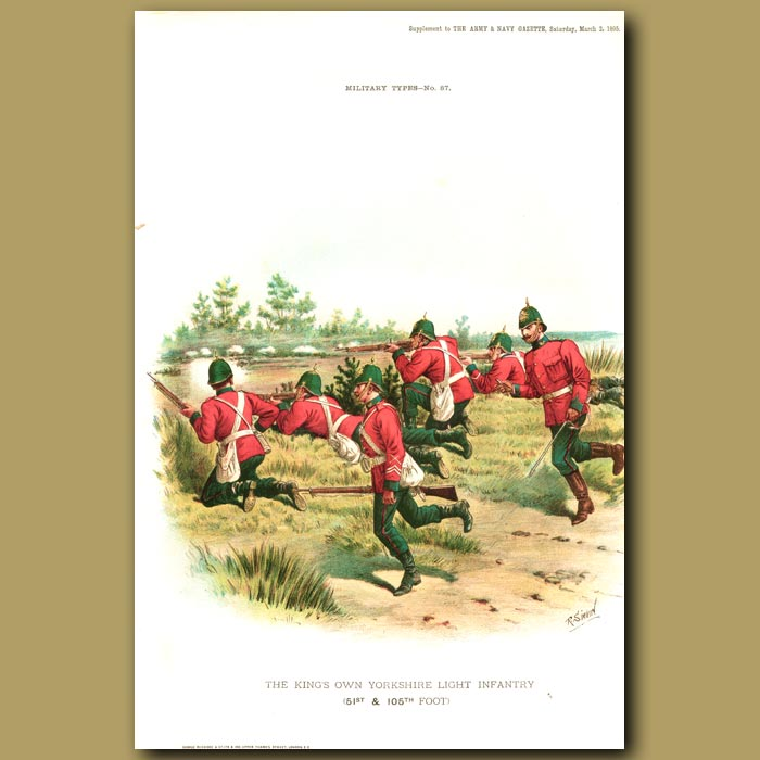Antique print. The King's Own Yorkshire Light Infantry (51st And 105th Foot)