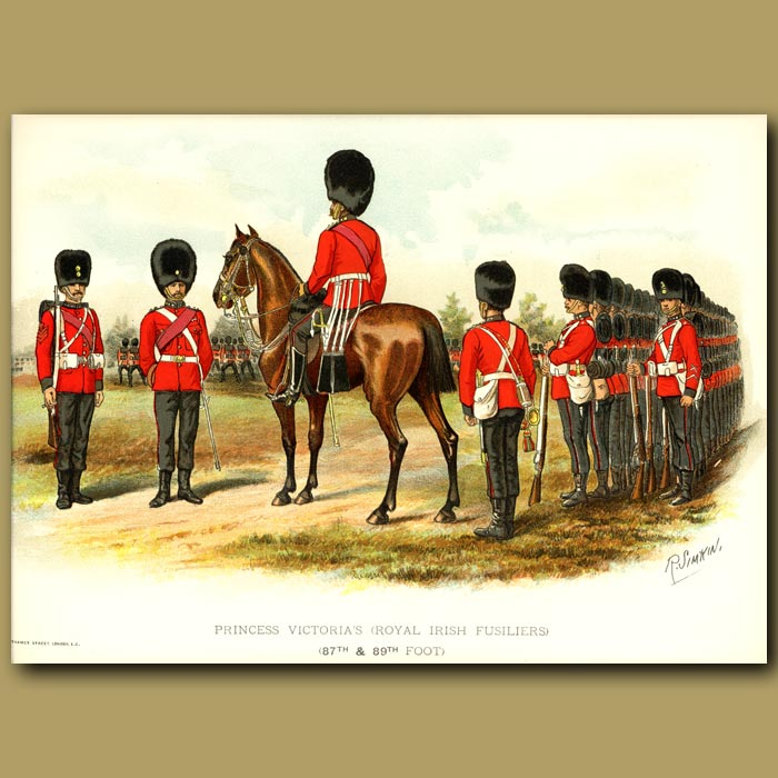 Antique print. Princess Victoria's (Royal Irish Fusiliers) (87th And 89th Foot)