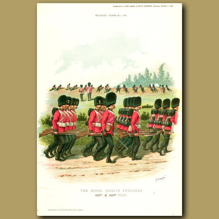 Antique print. The Royal Dublin Fusiliers (102nd & 103rd Foot)
