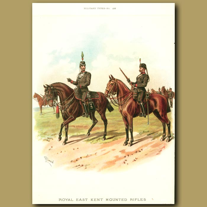 Antique print. The Royal East Kent Mounted Rifles
