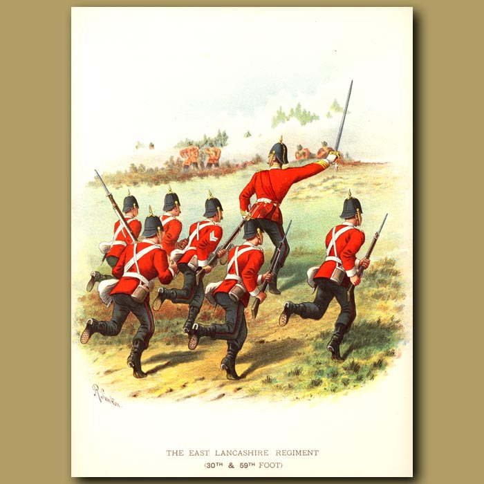 Antique print. The East Lancashire Regiment (30th And 59th Foot)