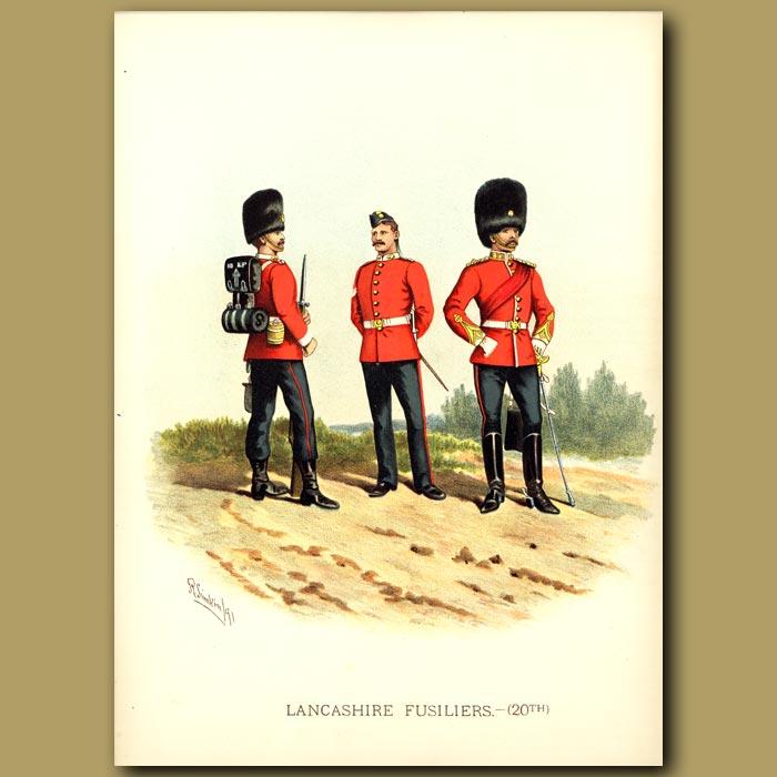 Antique print. Lancashire Fusiliers (20th)