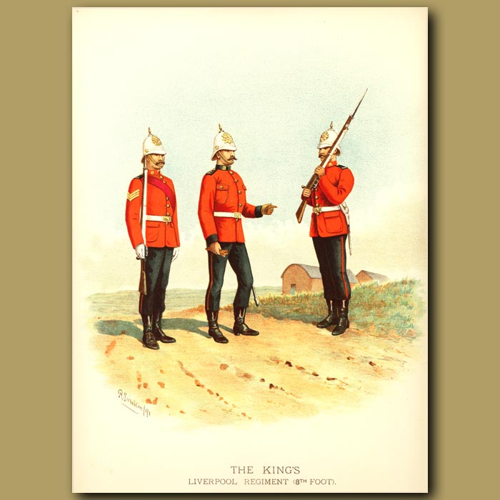 Antique print. The King's Liverpool Regiment (8th Foot)