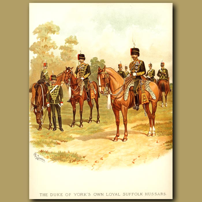 Antique print. The Duke Of York's Own Loyal Suffolk Hussars