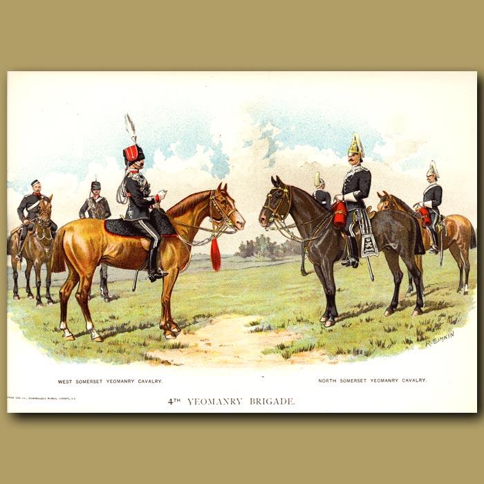 Antique print. 4th Yeomanry Brigade