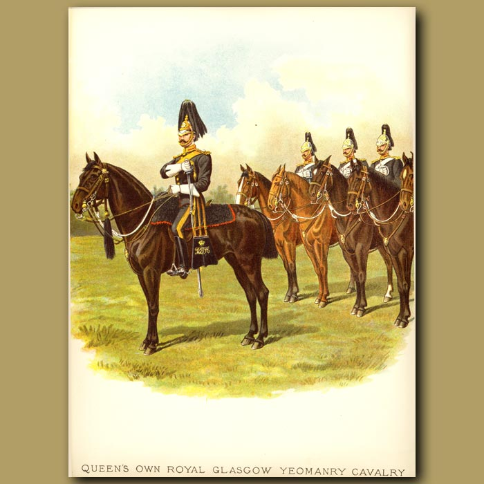 Antique print. Queen's Own Royal Glasgow Yeomanry Cavalry