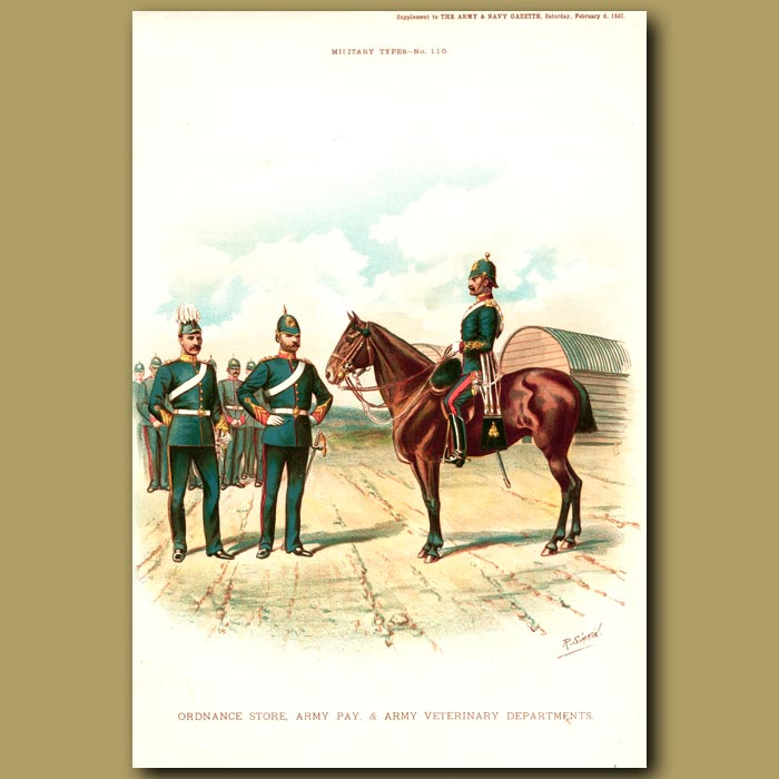 Antique print. Ordnance Store, Army Pay And Army Veterinary Departments