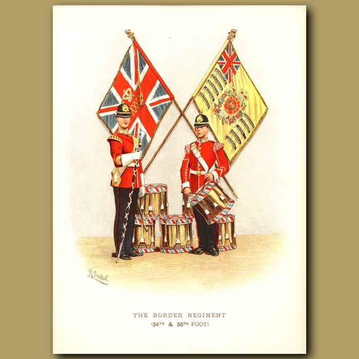 Antique print. The Border Regiment (34th And 55th Foot)