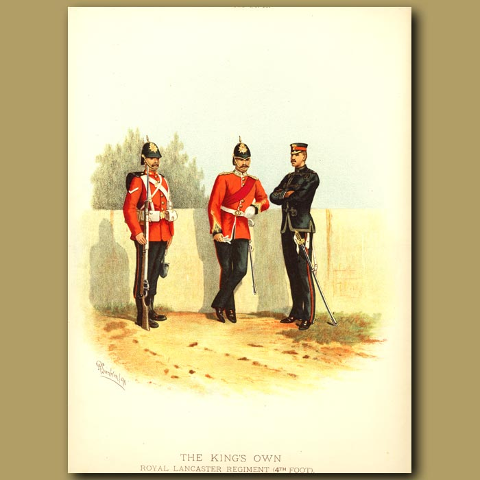 Antique print. The King's Own Royal Lancaster Regiment (4th Foot)