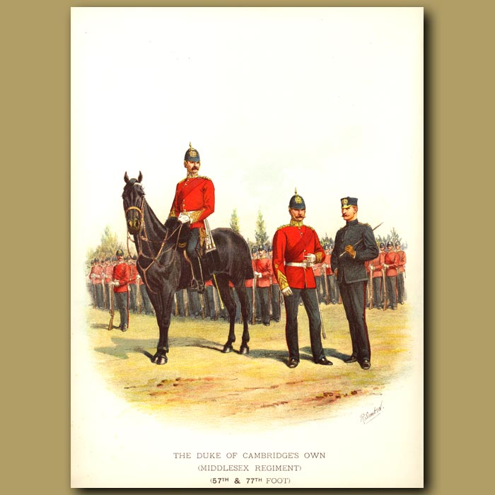 Antique print. The Duke Of Cambridge's Own ( Middlesex Regiment ) (57th And 77th Foot)