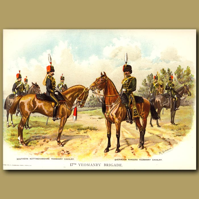 Antique print. 17th Yeomanry Brigade
