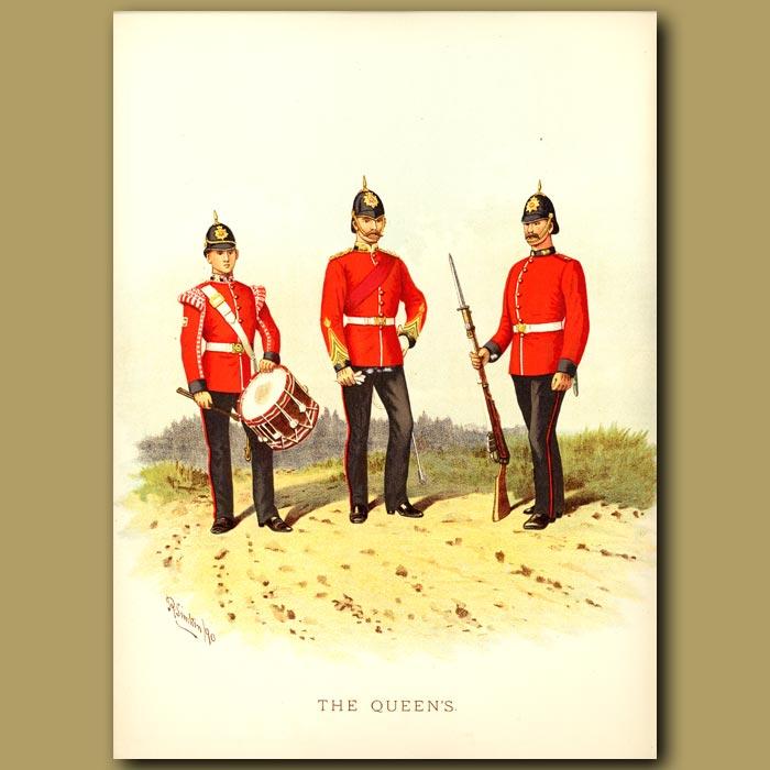 Antique print. The Queen's