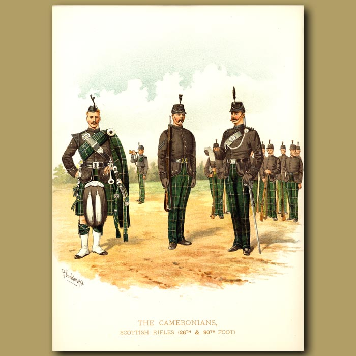 Antique print. The Cameronians, Scottish Rifles (26th And 90th Foot)