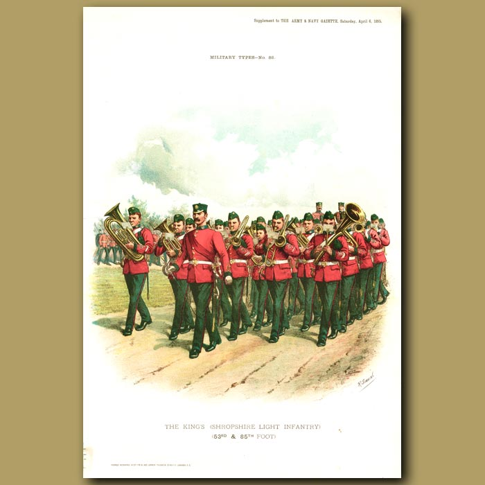 Antique print. The King's ( Shropshire Light Infantry ) (53rd And 85th Foot )