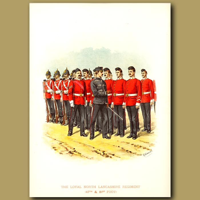 Antique print. The Royal North Lancashire Regiment  (47th And 81st Foot)