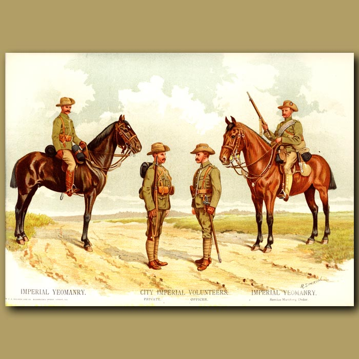 Antique print. Imperial Yeomanry, City Imperial Volunteers, Imperial Yeomanry