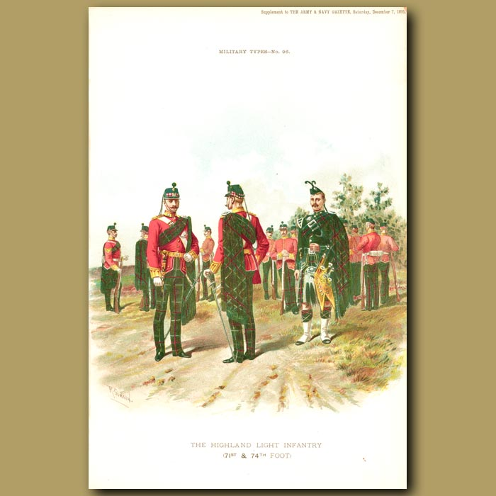 Antique print. The Highland Light Infantry (71st And 74th Foot)