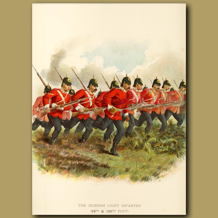 Antique print. The Durham Light Infantry (68th And 106th Foot)