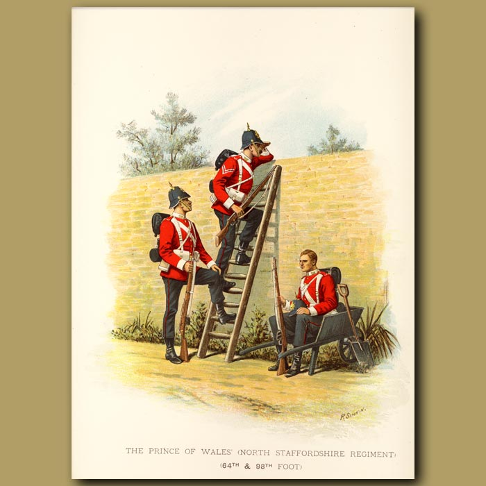 Antique print. The Prince Of Wales' (North Staffordshire Regiment 64th And 98th Foot)