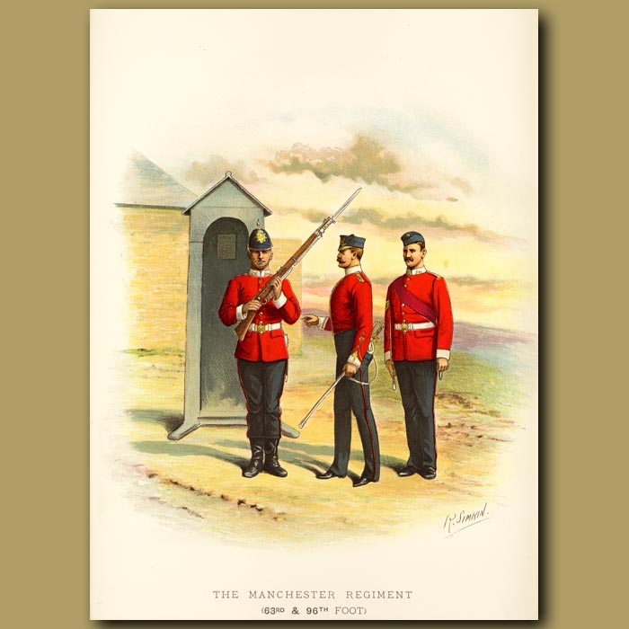 Antique print. The Manchester Regiment (63rd And 96th Foot)