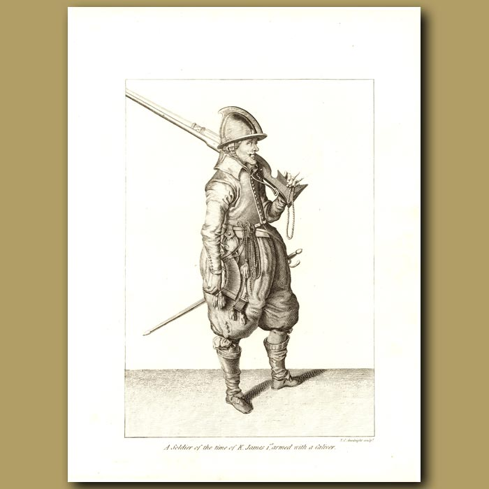 Antique print. A Soldier Of The Time Of King James 1st, Armed With A Caliver