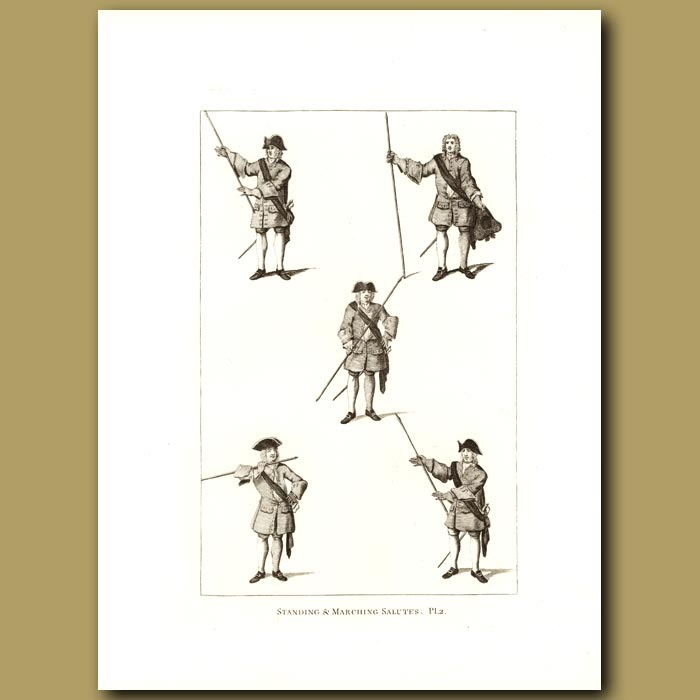 Antique print. Standing And Marching Salutes Pl.2