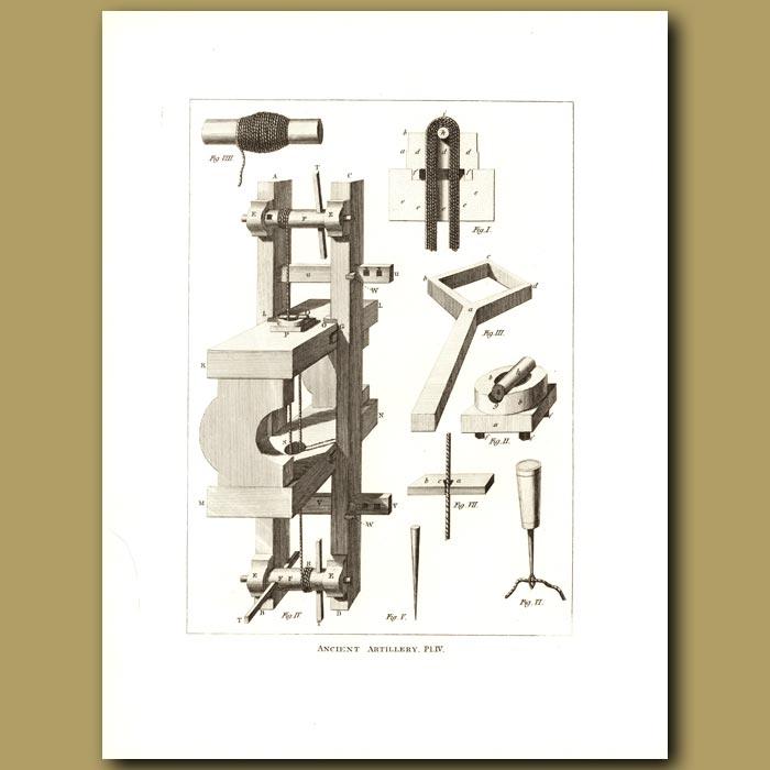 Antique print. Ancient Artillery