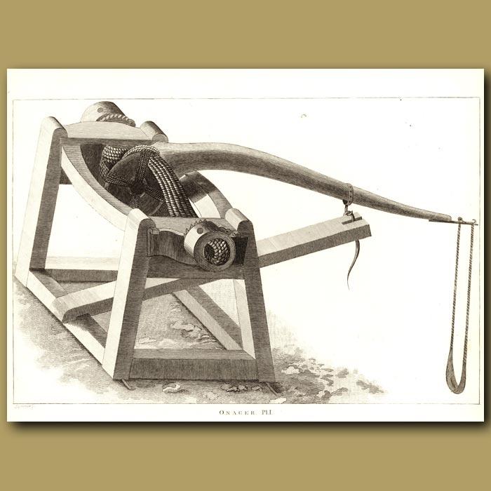 Antique print. Onager Pl.1 (Roman Siege Machine)