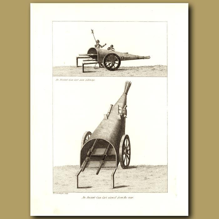 Antique print. An Ancient Gun Cart, Viewed From The Rear